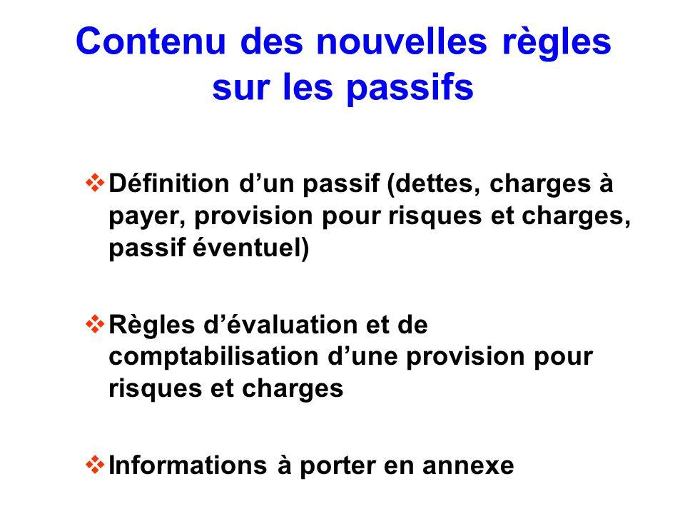 Contenu des nouvelles règles sur les passifs Définition dun passif (dettes, charges à payer, provision pour risques et charges, passif éventuel) Règle