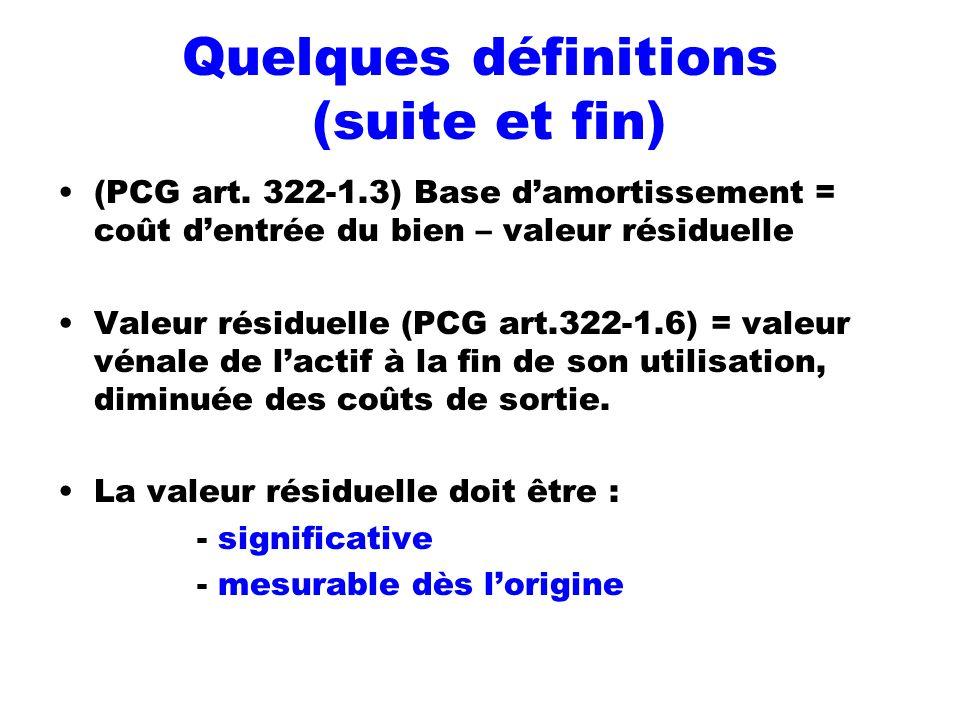 Quelques définitions (suite et fin) (PCG art. 322-1.3) Base damortissement = coût dentrée du bien – valeur résiduelle Valeur résiduelle (PCG art.322-1