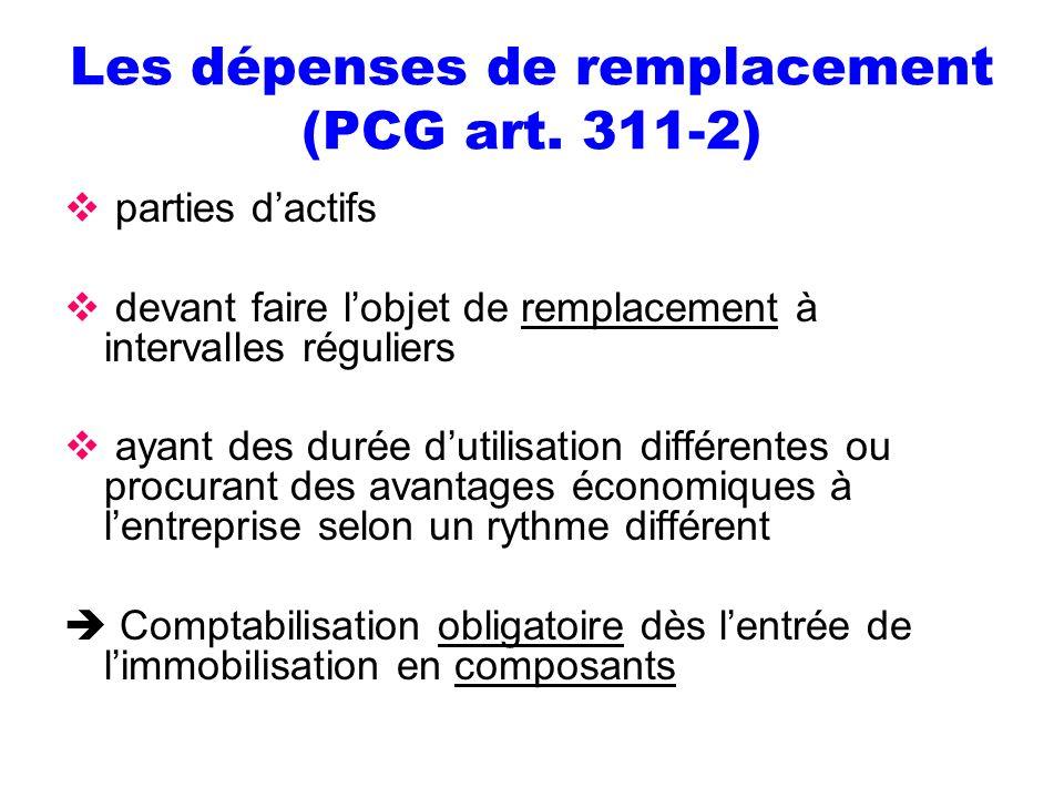 Les dépenses de remplacement (PCG art. 311-2) parties dactifs devant faire lobjet de remplacement à intervalles réguliers ayant des durée dutilisation