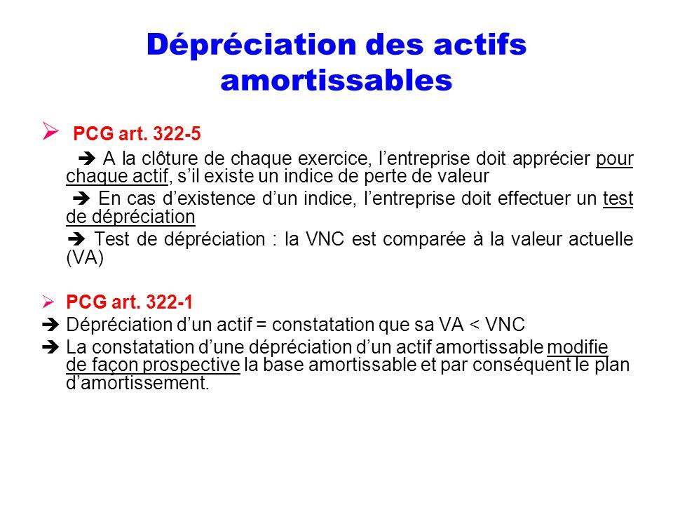 Dépréciation des actifs amortissables PCG art. 322-5 A la clôture de chaque exercice, lentreprise doit apprécier pour chaque actif, sil existe un indi