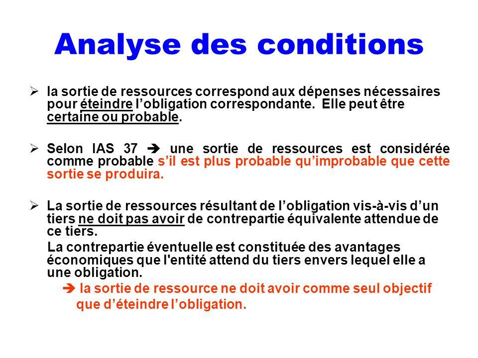 Analyse des conditions la sortie de ressources correspond aux dépenses nécessaires pour éteindre lobligation correspondante. Elle peut être certaine o