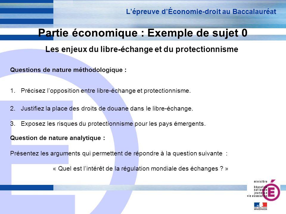 E 13 Partie économique : Exemple de sujet 0 Les enjeux du libre-échange et du protectionnisme Lépreuve dÉconomie-droit au Baccalauréat Questions de na