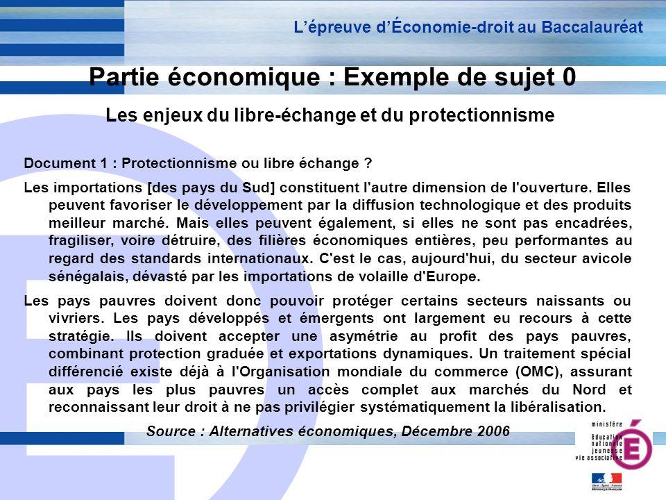 E 14 Partie économique : Exemple de sujet 0 Les enjeux du libre-échange et du protectionnisme Lépreuve dÉconomie-droit au Baccalauréat Document 1 : Pr