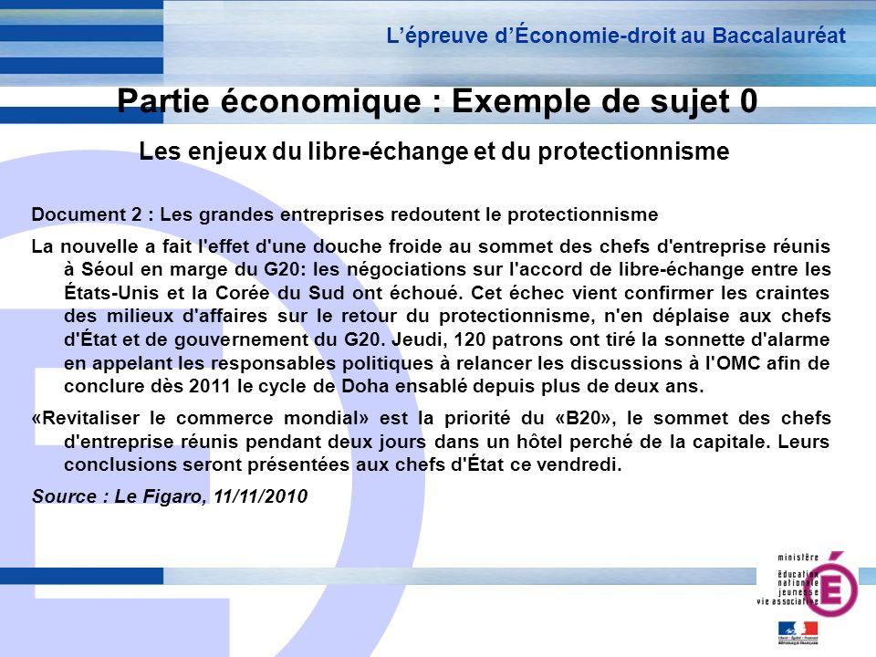 E 15 Partie économique : Exemple de sujet 0 Les enjeux du libre-échange et du protectionnisme Lépreuve dÉconomie-droit au Baccalauréat Document 2 : Le