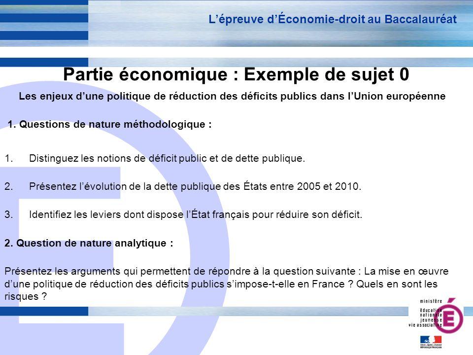 E 8 Partie économique : Exemple de sujet 0 Les enjeux dune politique de réduction des déficits publics dans lUnion européenne 1. Questions de nature m
