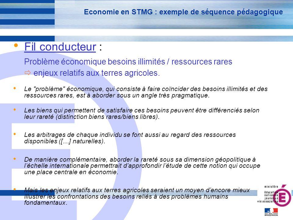 E 3 Economie en STMG : exemple de séquence pédagogique Fil conducteur : Problème économique besoins illimités / ressources rares enjeux relatifs aux terres agricoles.