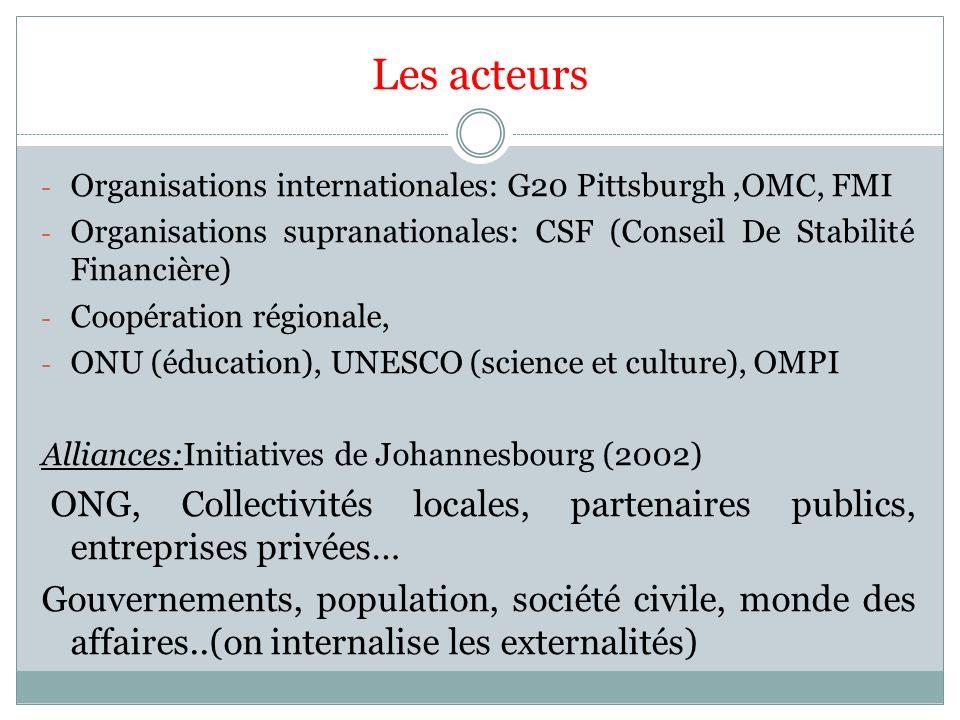Les acteurs - Organisations internationales: G20 Pittsburgh,OMC, FMI - Organisations supranationales: CSF (Conseil De Stabilité Financière) - Coopérat