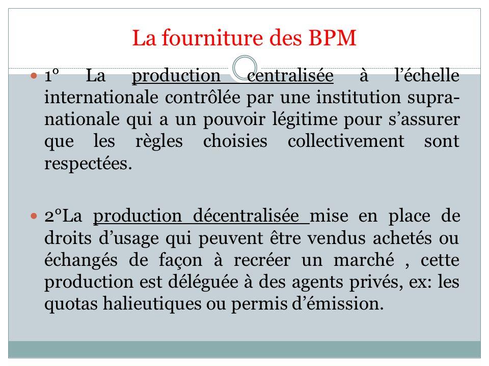 La fourniture des BPM 1° La production centralisée à léchelle internationale contrôlée par une institution supra- nationale qui a un pouvoir légitime