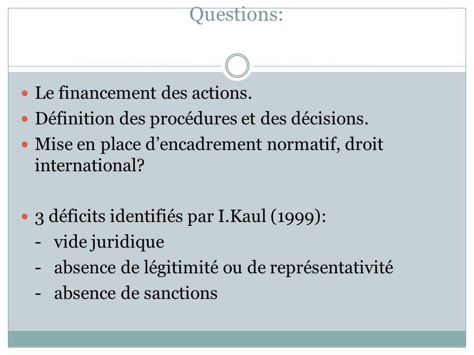 Questions: Le financement des actions. Définition des procédures et des décisions. Mise en place dencadrement normatif, droit international? 3 déficit