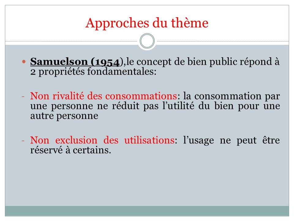 Approches du thème Samuelson (1954),le concept de bien public répond à 2 propriétés fondamentales: - Non rivalité des consommations: la consommation p