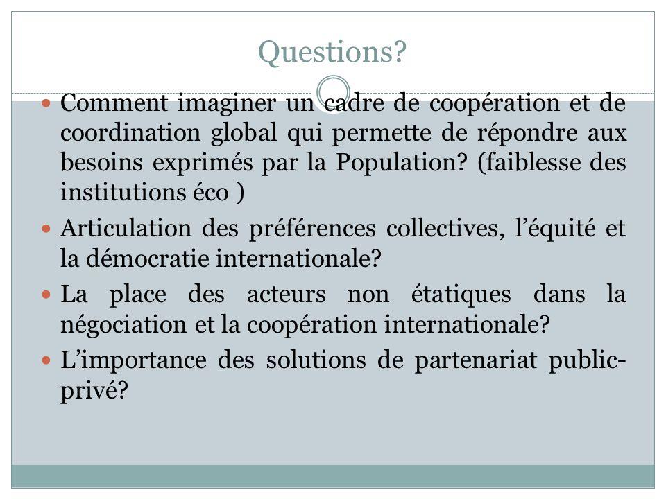 Questions? Comment imaginer un cadre de coopération et de coordination global qui permette de répondre aux besoins exprimés par la Population? (faible