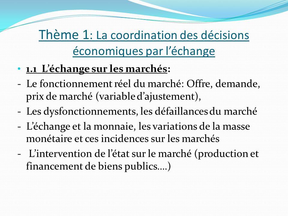 Thème 1 : La coordination des décisions économiques par léchange 1.1 Léchange sur les marchés: - Le fonctionnement réel du marché: Offre, demande, prix de marché (variable dajustement), - Les dysfonctionnements, les défaillances du marché - Léchange et la monnaie, les variations de la masse monétaire et ces incidences sur les marchés - Lintervention de létat sur le marché (production et financement de biens publics….)