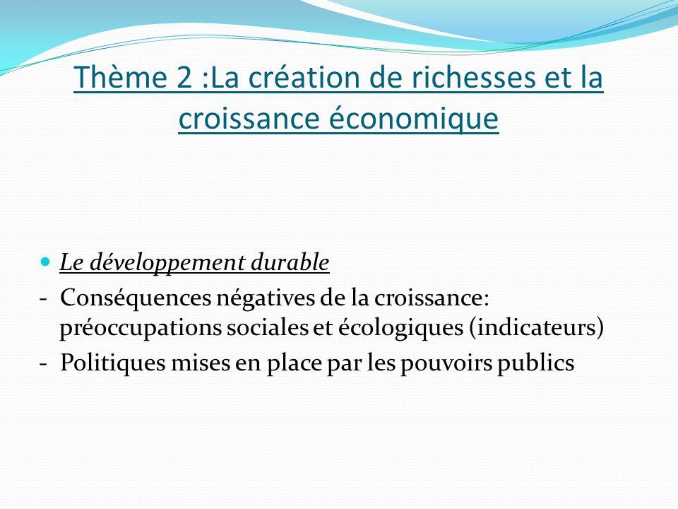 Thème 2 :La création de richesses et la croissance économique Le développement durable - Conséquences négatives de la croissance: préoccupations sociales et écologiques (indicateurs) - Politiques mises en place par les pouvoirs publics
