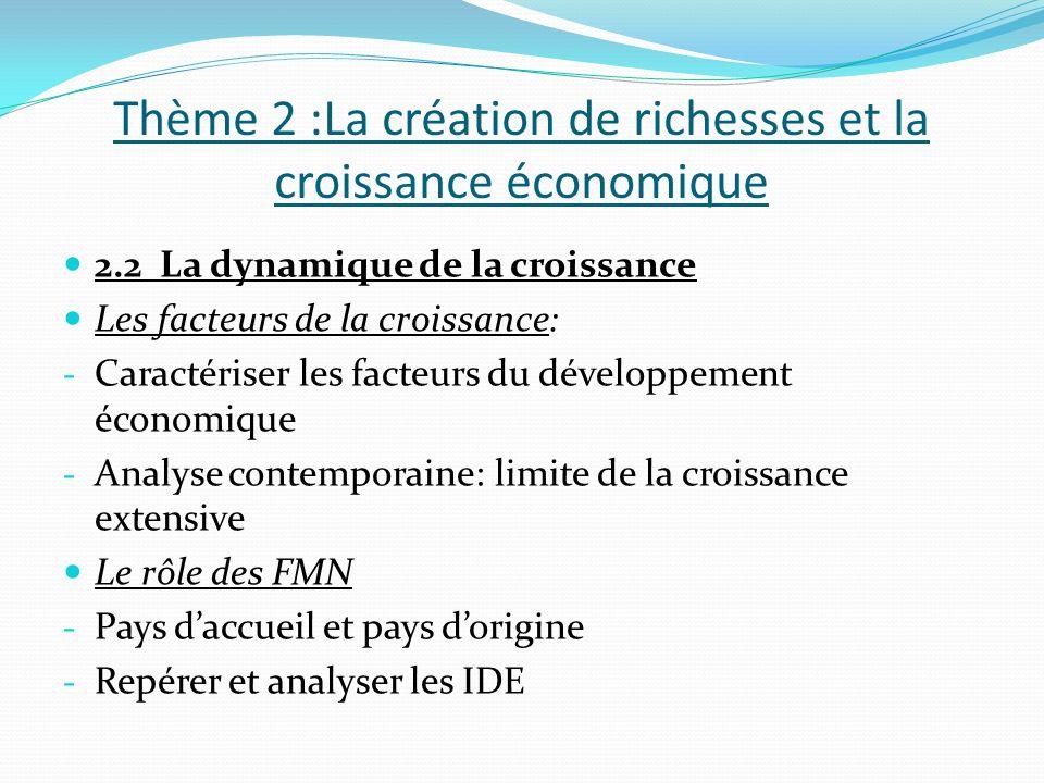 Thème 2 :La création de richesses et la croissance économique 2.2 La dynamique de la croissance Les facteurs de la croissance: - Caractériser les facteurs du développement économique - Analyse contemporaine: limite de la croissance extensive Le rôle des FMN - Pays daccueil et pays dorigine - Repérer et analyser les IDE