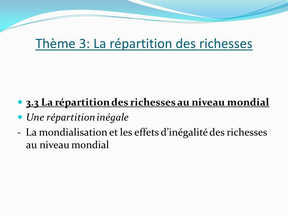 Thème 3: La répartition des richesses 3.3 La répartition des richesses au niveau mondial Une répartition inégale - La mondialisation et les effets dinégalité des richesses au niveau mondial