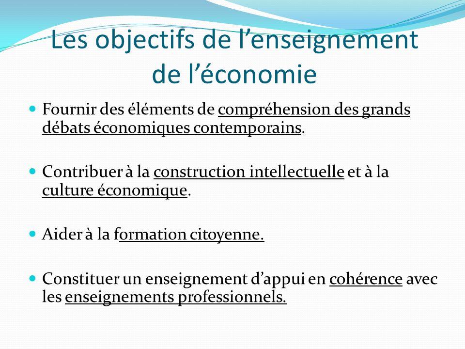 Les objectifs de lenseignement de léconomie Fournir des éléments de compréhension des grands débats économiques contemporains.