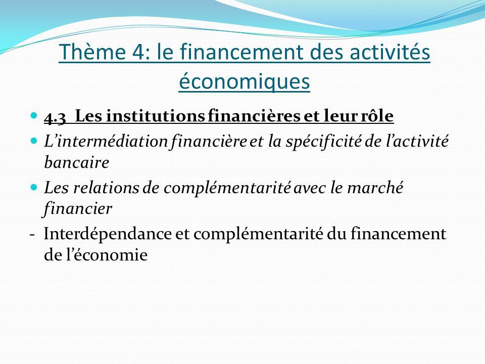Thème 4: le financement des activités économiques 4.3 Les institutions financières et leur rôle Lintermédiation financière et la spécificité de lactivité bancaire Les relations de complémentarité avec le marché financier - Interdépendance et complémentarité du financement de léconomie