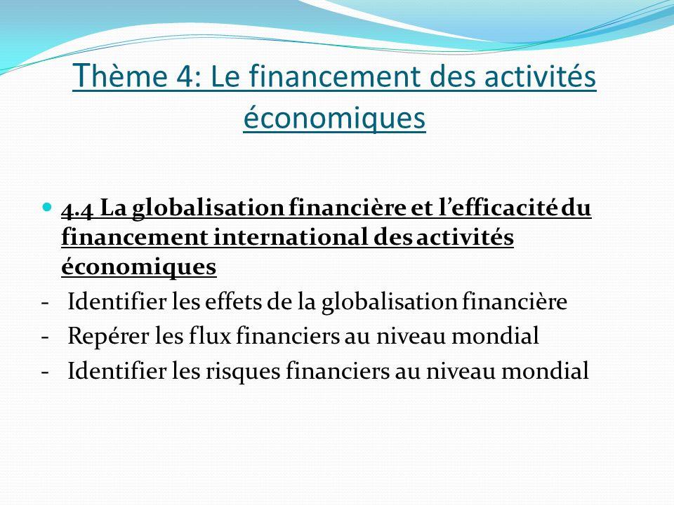 T hème 4: Le financement des activités économiques 4.4 La globalisation financière et lefficacité du financement international des activités économiques - Identifier les effets de la globalisation financière - Repérer les flux financiers au niveau mondial - Identifier les risques financiers au niveau mondial