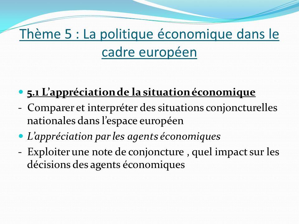Thème 5 : La politique économique dans le cadre européen 5.1 Lappréciation de la situation économique - Comparer et interpréter des situations conjoncturelles nationales dans lespace européen Lappréciation par les agents économiques - Exploiter une note de conjoncture, quel impact sur les décisions des agents économiques
