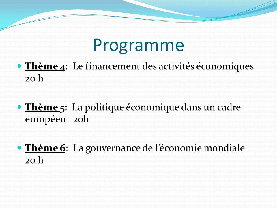 Programme Thème 4: Le financement des activités économiques 20 h Thème 5: La politique économique dans un cadre européen 20h Thème 6: La gouvernance de léconomie mondiale 20 h