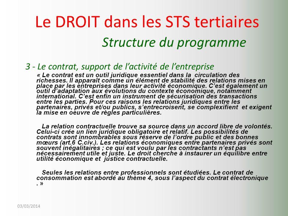 03/03/2014 Le DROIT dans les STS tertiaires Structure du programme 3 - Le contrat, support de lactivité de lentreprise « Le contrat est un outil jurid
