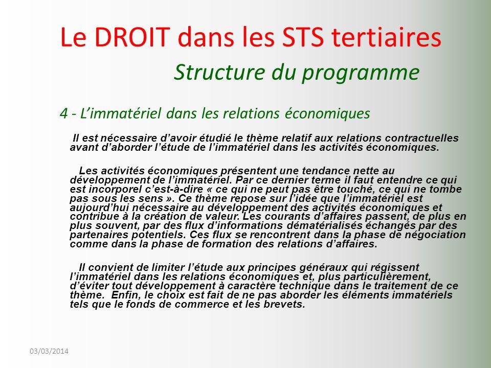 03/03/2014 Le DROIT dans les STS tertiaires Structure du programme 4 - Limmatériel dans les relations économiques Il est nécessaire davoir étudié le t