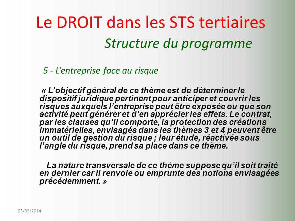 03/03/2014 Le DROIT dans les STS tertiaires Structure du programme 5 - Lentreprise face au risque « Lobjectif général de ce thème est de déterminer le