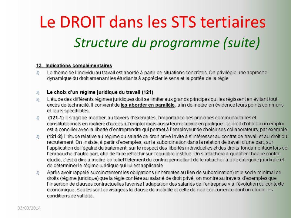 03/03/2014 Le DROIT dans les STS tertiaires Structure du programme (suite) 13. Indications complémentaires b Le thème de lindividu au travail est abor