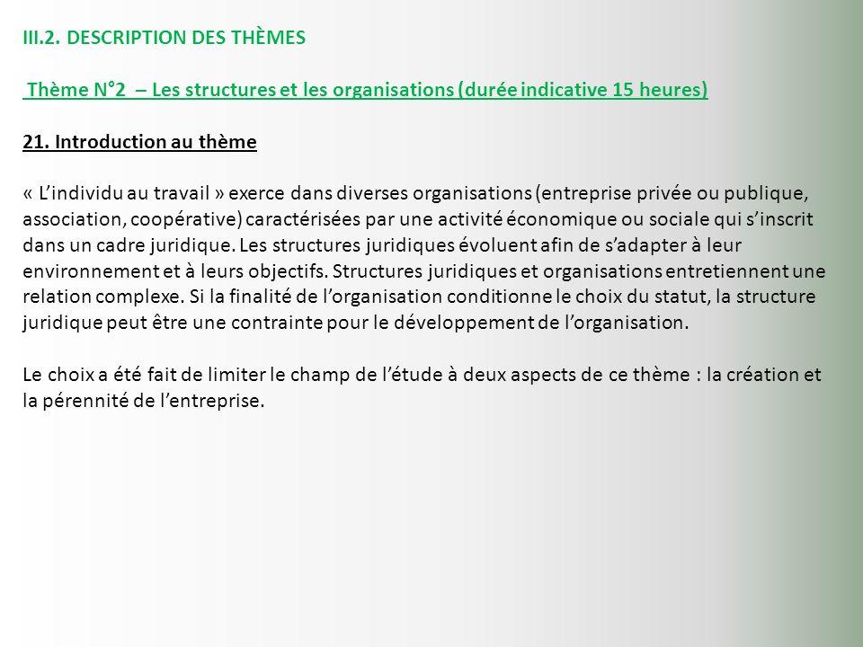 III.2. DESCRIPTION DES THÈMES Thème N°2 – Les structures et les organisations (durée indicative 15 heures) 21. Introduction au thème « Lindividu au tr