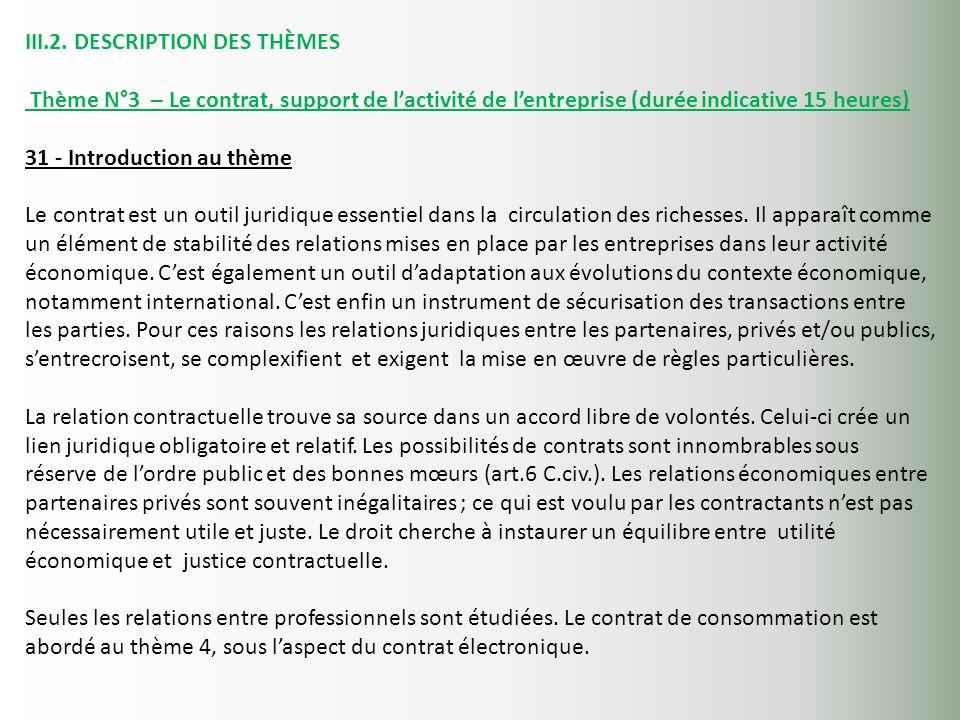 III.2. DESCRIPTION DES THÈMES Thème N°3 – Le contrat, support de lactivité de lentreprise (durée indicative 15 heures) 31 - Introduction au thème Le c