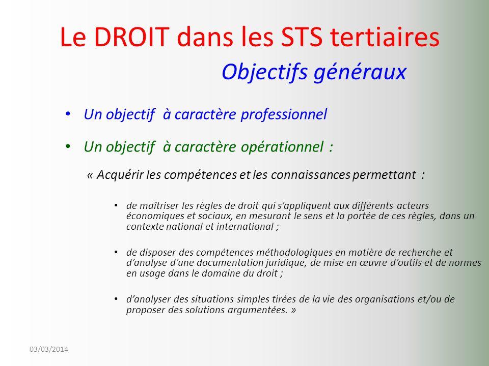 03/03/2014 Le DROIT dans les STS tertiaires Objectifs généraux Un objectif à caractère professionnel Un objectif à caractère opérationnel : « Acquérir