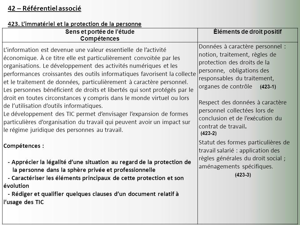 42 – Référentiel associé 423. Limmatériel et la protection de la personne Sens et portée de létude Compétences Éléments de droit positif Linformation
