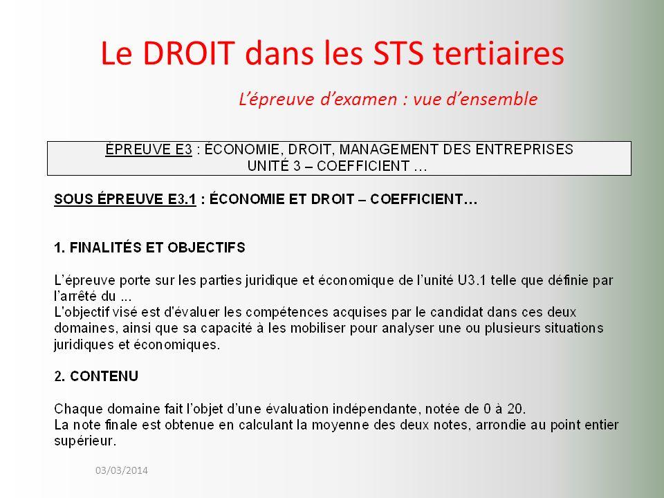 03/03/2014 Le DROIT dans les STS tertiaires Lépreuve dexamen : vue densemble