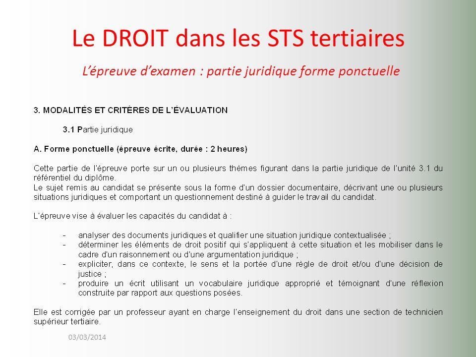 03/03/2014 Le DROIT dans les STS tertiaires Lépreuve dexamen : partie juridique forme ponctuelle