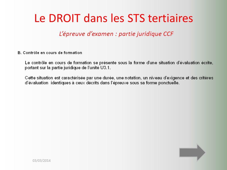 03/03/2014 Le DROIT dans les STS tertiaires Lépreuve dexamen : partie juridique CCF