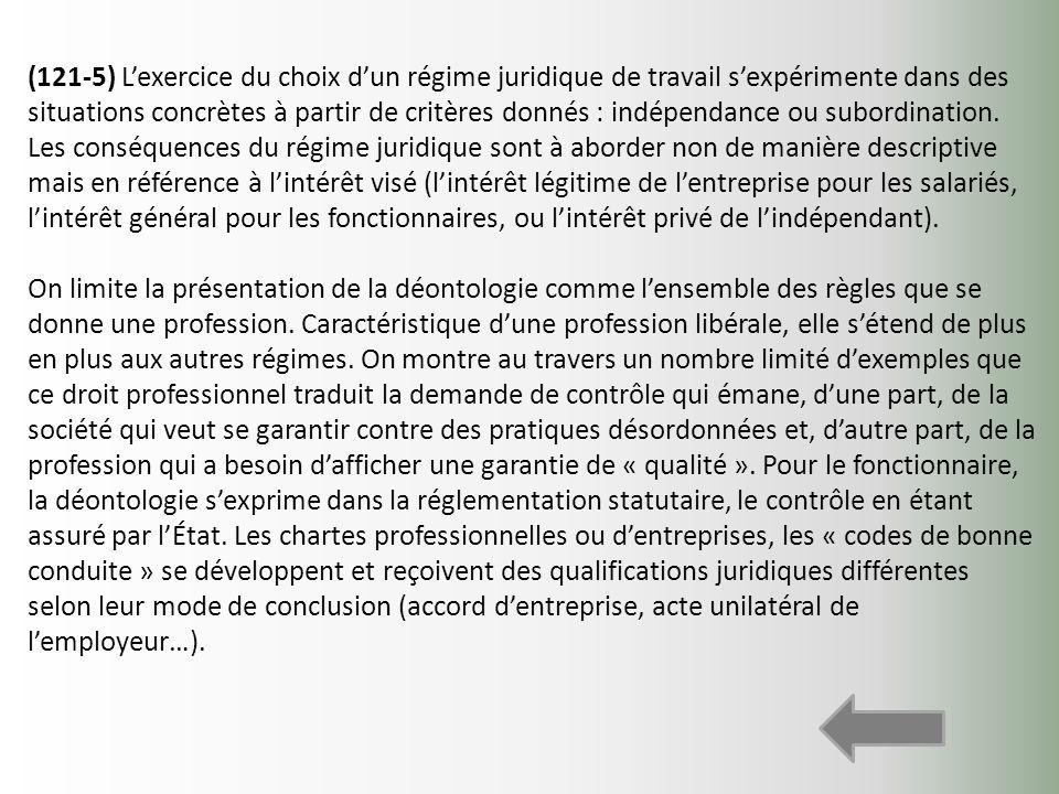 (121-5) Lexercice du choix dun régime juridique de travail sexpérimente dans des situations concrètes à partir de critères donnés : indépendance ou su