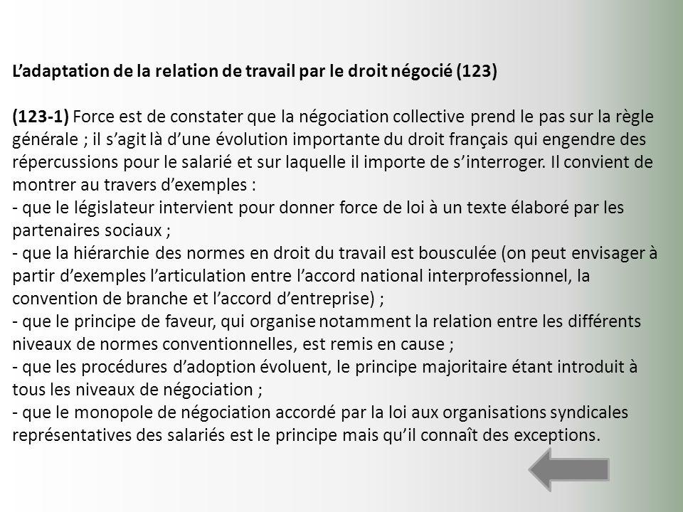 Ladaptation de la relation de travail par le droit négocié (123) (123-1) Force est de constater que la négociation collective prend le pas sur la règl