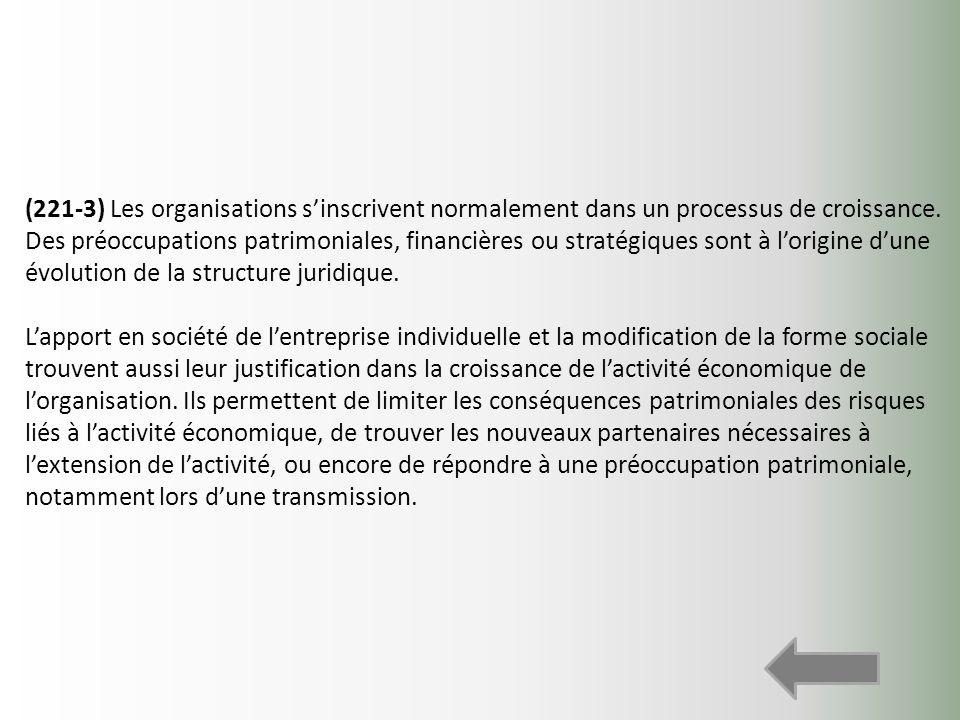 (221-3) Les organisations sinscrivent normalement dans un processus de croissance. Des préoccupations patrimoniales, financières ou stratégiques sont