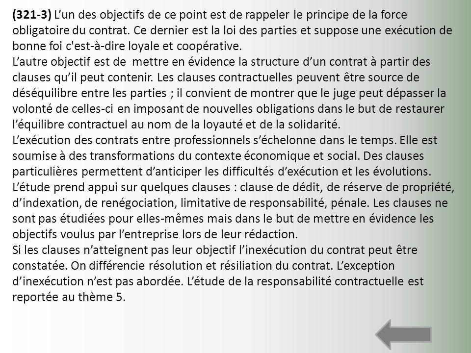 (321-3) Lun des objectifs de ce point est de rappeler le principe de la force obligatoire du contrat. Ce dernier est la loi des parties et suppose une