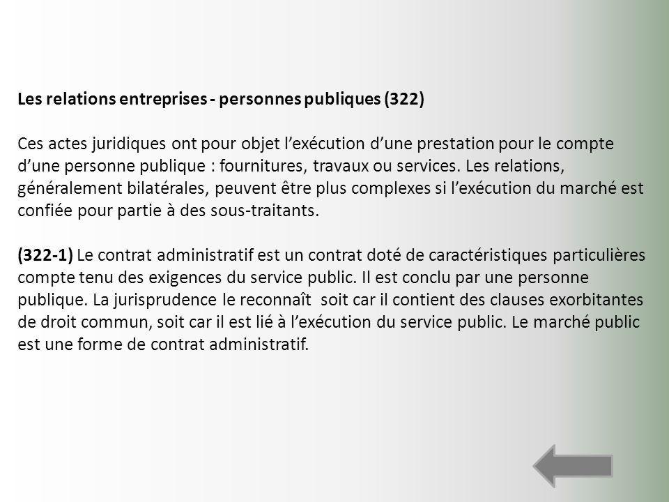 Les relations entreprises - personnes publiques (322) Ces actes juridiques ont pour objet lexécution dune prestation pour le compte dune personne publ