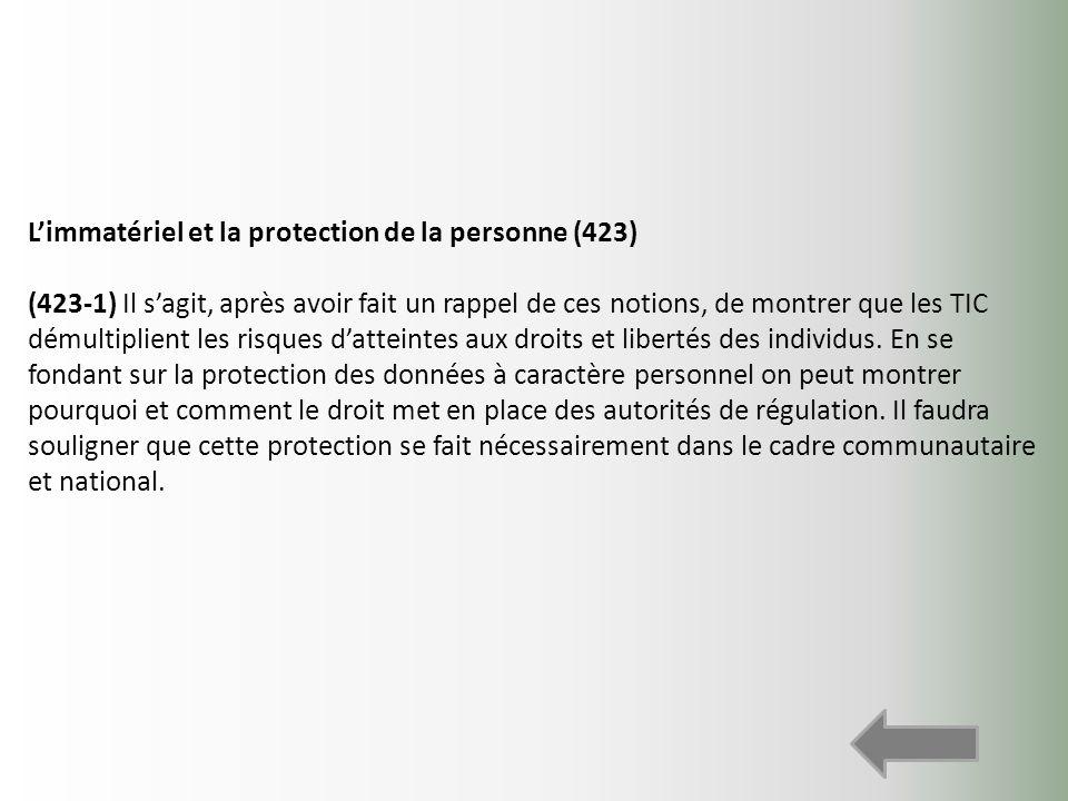 Limmatériel et la protection de la personne (423) (423-1) Il sagit, après avoir fait un rappel de ces notions, de montrer que les TIC démultiplient le
