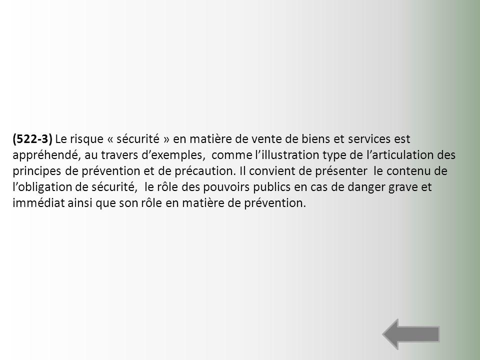 (522-3) Le risque « sécurité » en matière de vente de biens et services est appréhendé, au travers dexemples, comme lillustration type de larticulatio