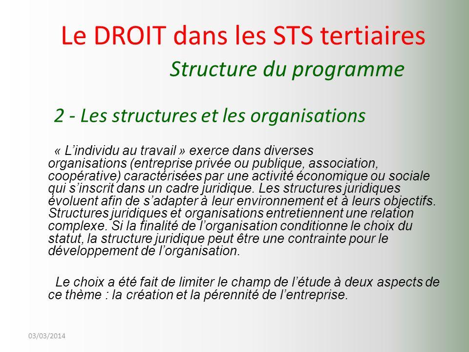 03/03/2014 Le DROIT dans les STS tertiaires Structure du programme 2 - Les structures et les organisations « Lindividu au travail » exerce dans divers