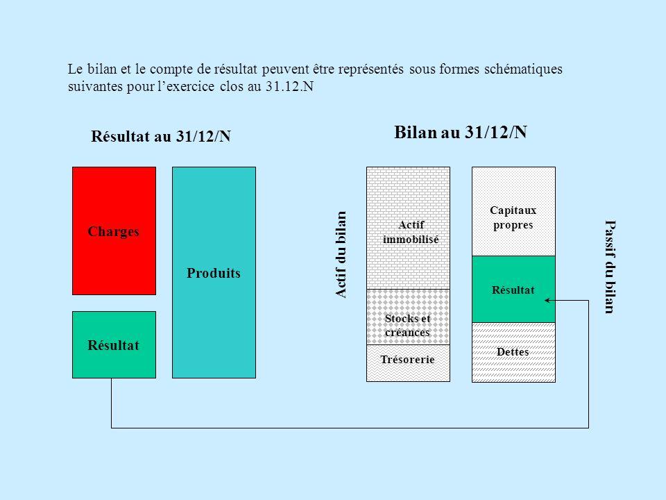 Charges Produits Résultat Actif immobilisé Stocks et créances Trésorerie Capitaux propres Dettes Actif du bilan Passif du bilan Résultat Bilan au 31/12/N Résultat au 31/12/N Le bilan et le compte de résultat peuvent être représentés sous formes schématiques suivantes pour lexercice clos au 31.12.N