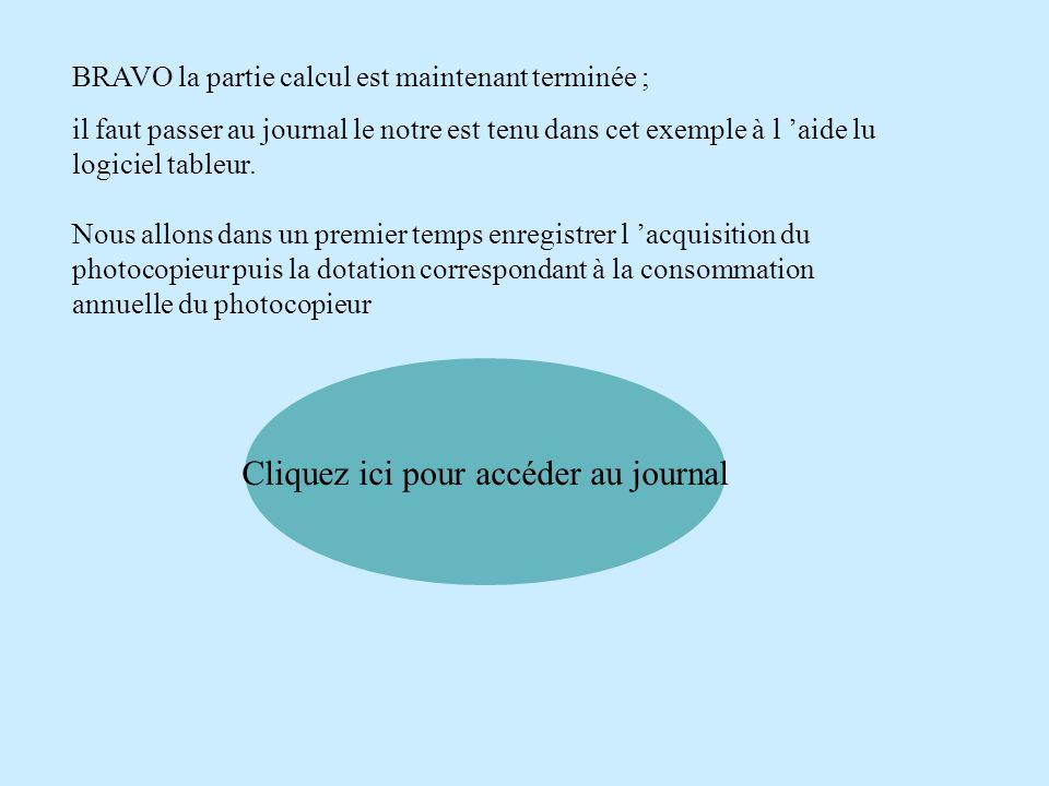 BRAVO la partie calcul est maintenant terminée ; il faut passer au journal le notre est tenu dans cet exemple à l aide lu logiciel tableur.