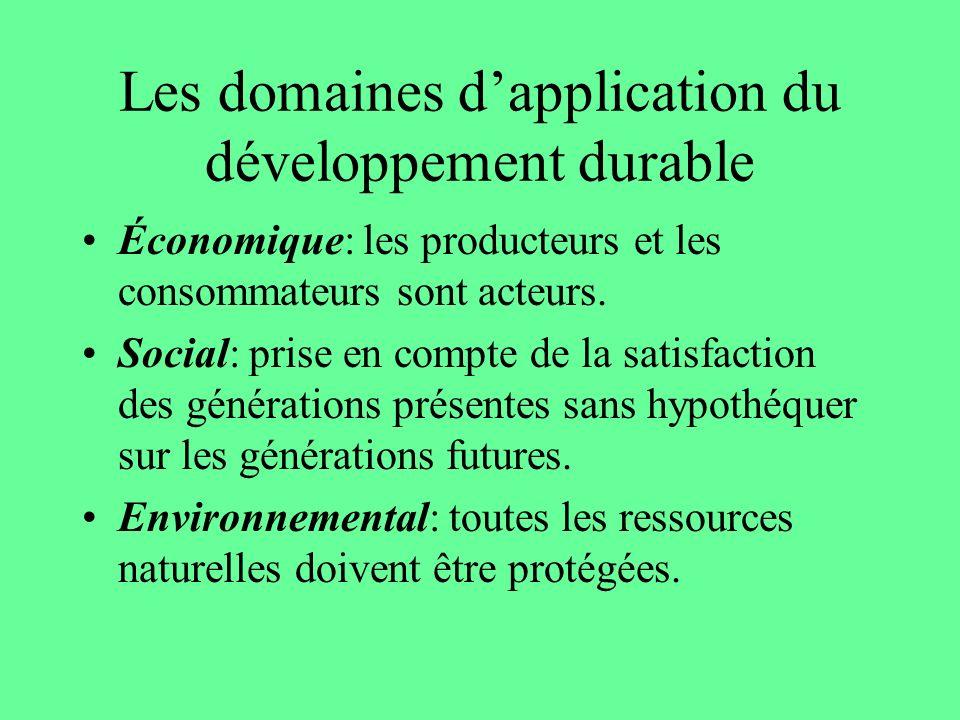 Les domaines dapplication du développement durable Économique: les producteurs et les consommateurs sont acteurs. Social: prise en compte de la satisf