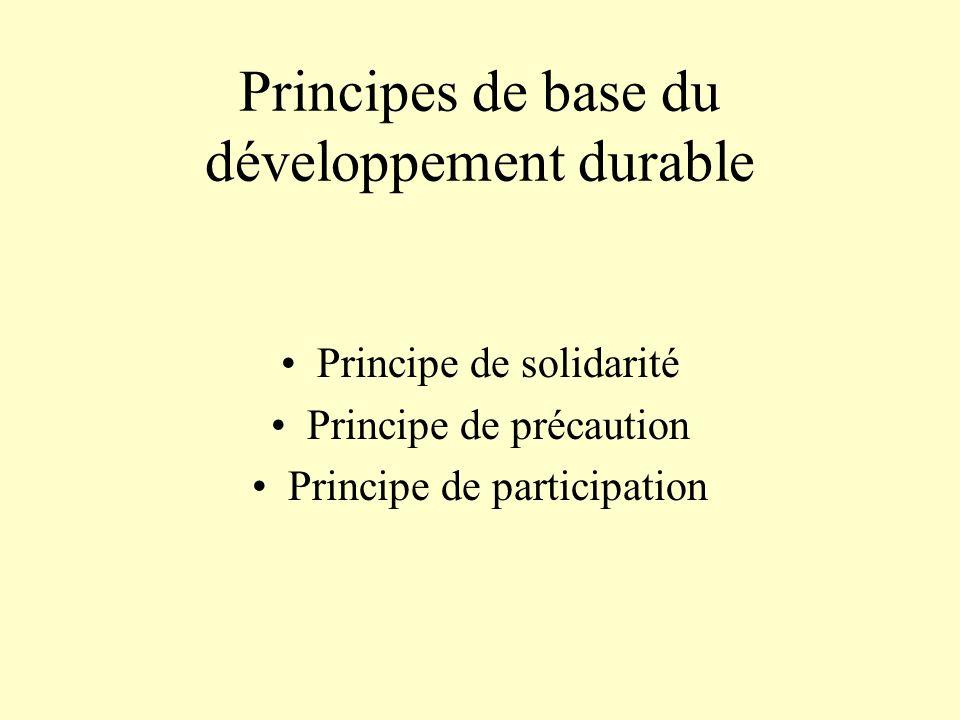 Principes de base du développement durable Principe de solidarité Principe de précaution Principe de participation