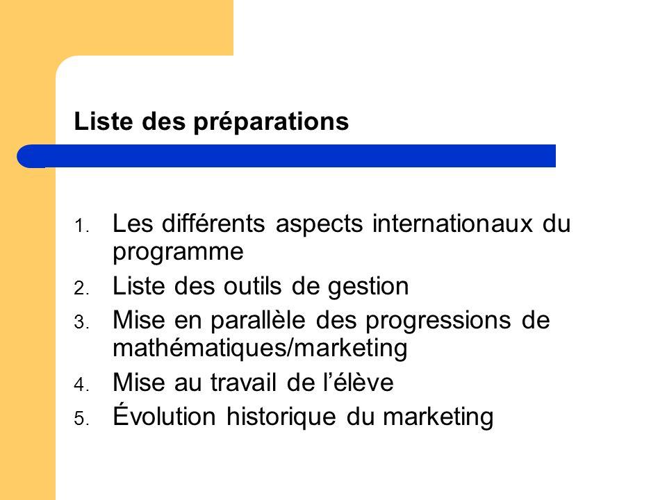 Liste des préparations 1. Les différents aspects internationaux du programme 2. Liste des outils de gestion 3. Mise en parallèle des progressions de m