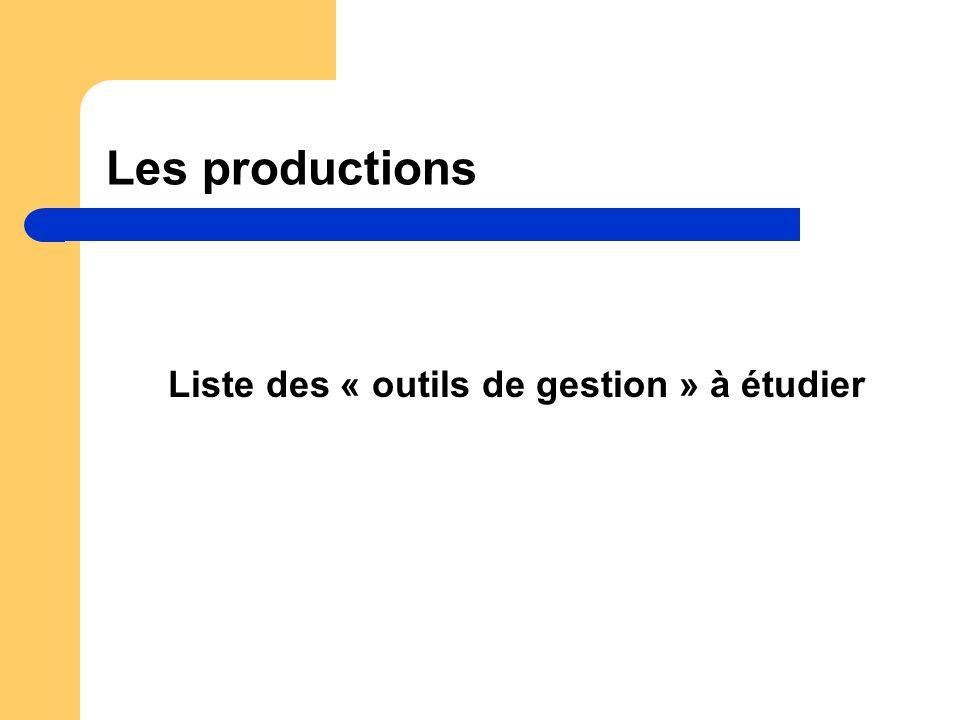 Les productions Liste des « outils de gestion » à étudier