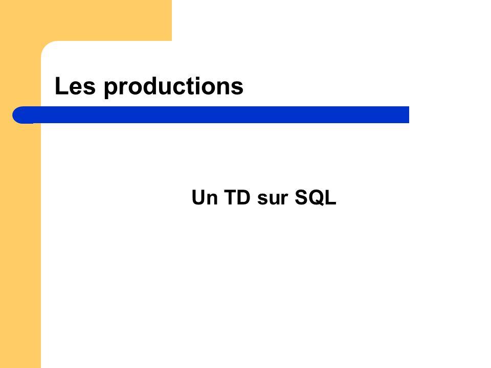 Les productions Un TD sur SQL